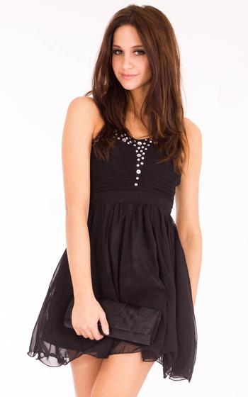Ashling Embellished Gem Black Dress